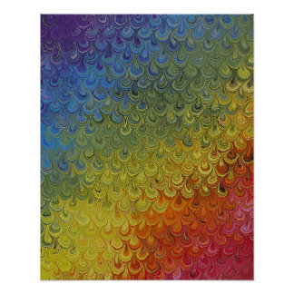 Rainbow Peacock Marble Poster