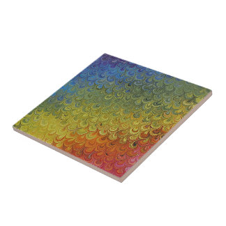 Rainbow Peacock Marble Small Square Tile