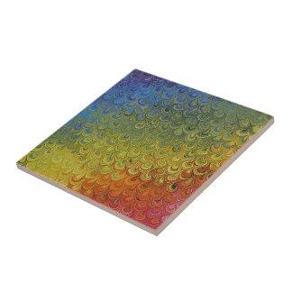 Rainbow Peacock Marble Tile