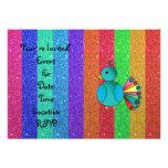 Rainbow peacock rainbow glitter custom invite