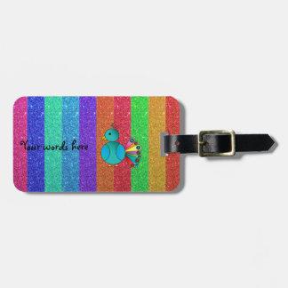 Rainbow peacock rainbow glitter stripes travel bag tag