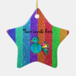 Rainbow peacock rainbow glitter stripes christmas tree ornaments
