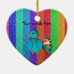 Rainbow peacock rainbow glitter stripes ornament
