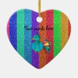 Rainbow peacock rainbow glitter stripes ornaments