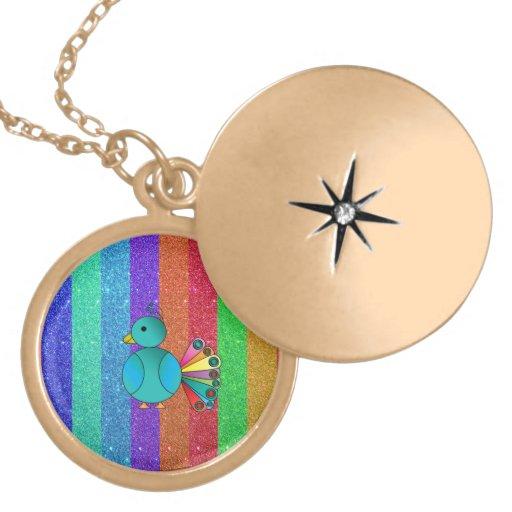Rainbow peacock rainbow glitter stripes pendants