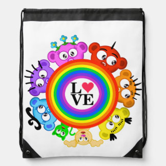 Rainbow Peek-A-Boo Crew Design Drawstring Bag