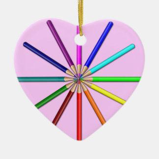rainbow pencils tips in ceramic ornament