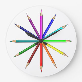 rainbow pencils tips out large clock