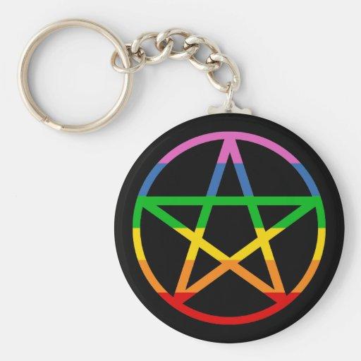 Rainbow Pentacle Basic Round Button Keychain