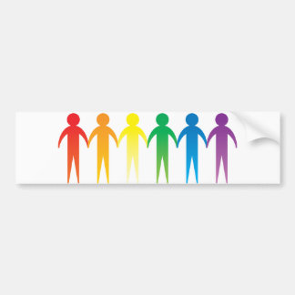 Rainbow People Car Bumper Sticker
