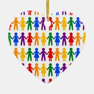 Rainbow People Pattern Ceramic Ornament