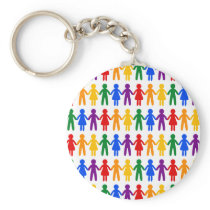 Rainbow People Pattern Keychain