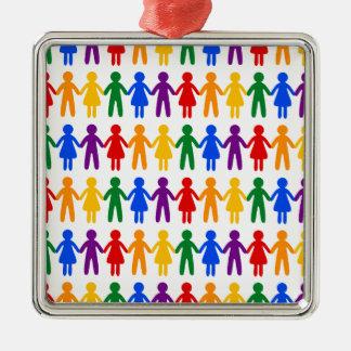 Rainbow People Pattern Metal Ornament