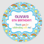 Rainbow personalised personalized cute cloud seals classic round sticker