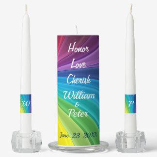 Rainbow Personalize Monogram LGBT Wedding Unity Candle Set
