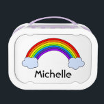 """Rainbow Personalized Lunch Box<br><div class=""""desc"""">A colorful rainbow with name below in black letters.  Personalize with your own name or other text.  Customize to change font size,  style and color.</div>"""