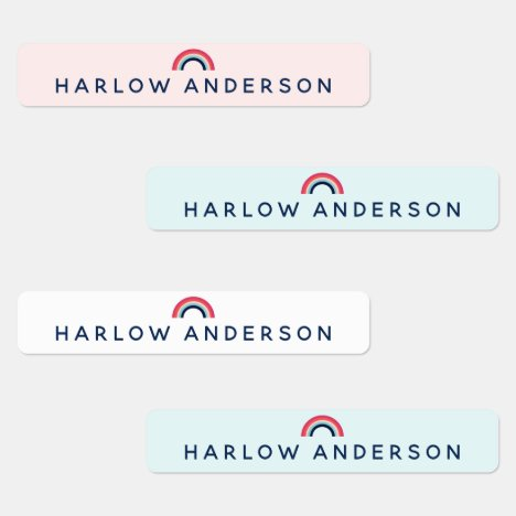Rainbow Personalized Name School Waterproof Modern Labels