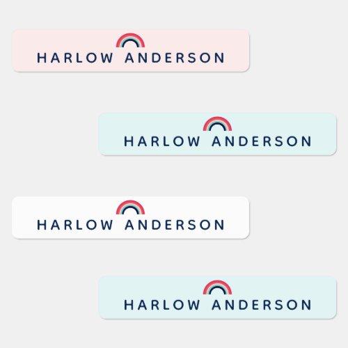 Rainbow Personalized Name School Waterproof Modern Labels