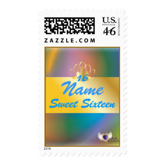 Rainbow Personalized Sweet -16 Post. Stamp-Cust