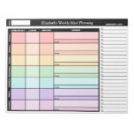 Rainbow Personalized Weekly Meal Planning Notepad