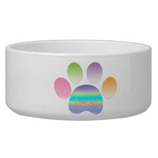 """Rainbow Pet Paw Print with Love"" Bowl"