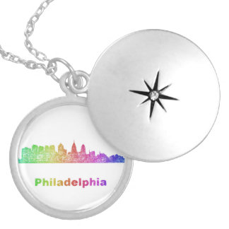 Rainbow Philadelphia skyline Silver Plated Necklace