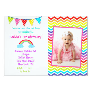 Rainbow Photo Birthday Invitations