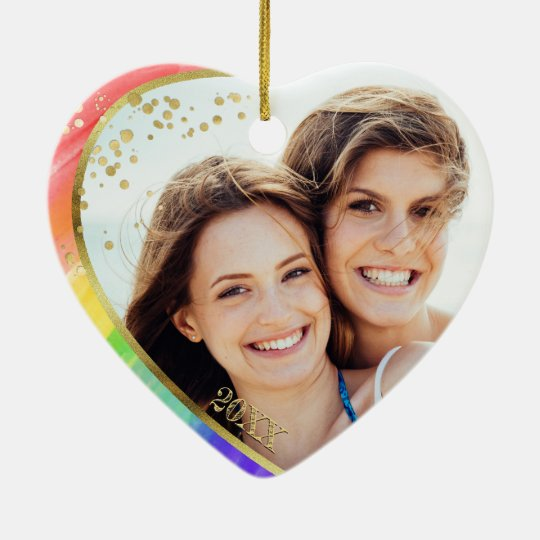 Rainbow & Photo LGBT Love is Love Watercolor Ceramic Ornamentcom