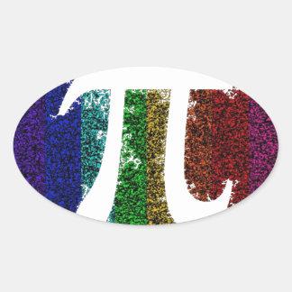Rainbow Pi Sign Oval Sticker