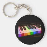 Rainbow Piano Basic Round Button Keychain