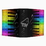 Rainbow Piano Keyboard and Music Notes Binder