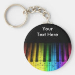 Rainbow Piano Keyboard and Notes Basic Round Button Keychain