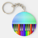 Rainbow Piano Keyboard Basic Round Button Keychain