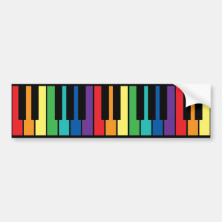 Rainbow Piano Keyboard Bumper Sticker