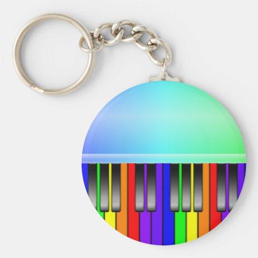Rainbow Piano Keyboard Keychains