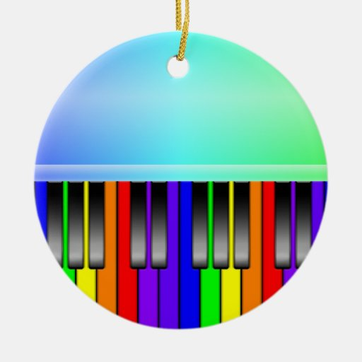 Rainbow Piano Keyboard Double-Sided Ceramic Round Christmas Ornament