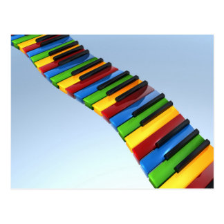 Rainbow Piano Keyboard Postcard