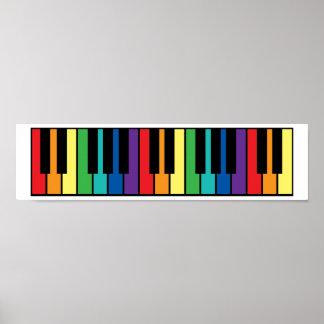 Rainbow Piano Keyboard Poster