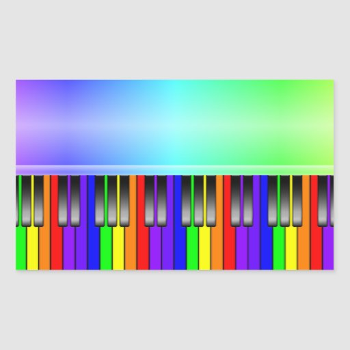 Rainbow Piano Keyboard Rectangle Sticker