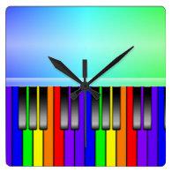 Rainbow Piano Keyboard Square Wall   Clock