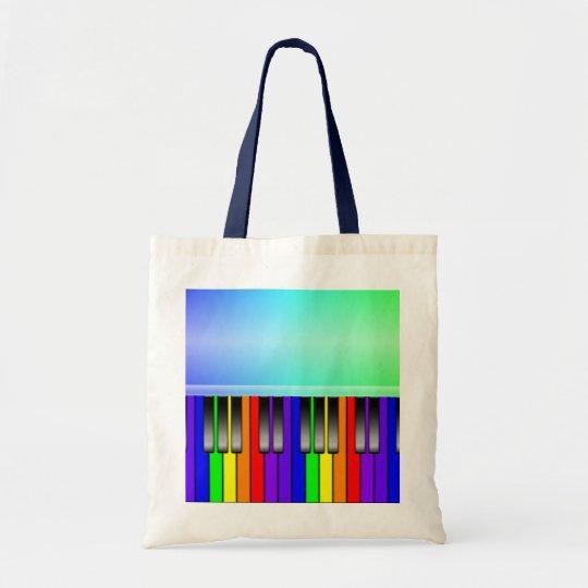 Rainbow Piano Keyboard Tote Bag