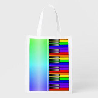 Rainbow Piano Keyboard Grocery Bag