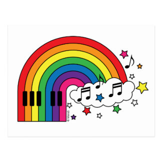 Rainbow Piano Postcard