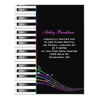 Rainbow Piano Recital 4.25x5.5 Paper Invitation Card
