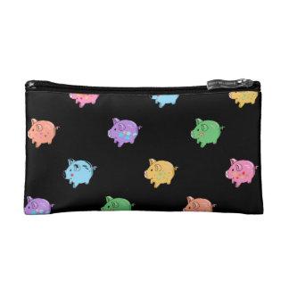 Rainbow Pig Pattern on black Makeup Bags