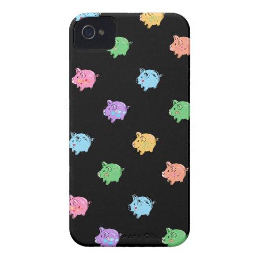 Rainbow Pig Pattern on black Blackberry Cases