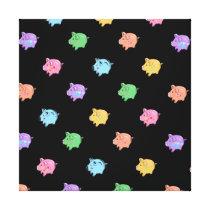 Rainbow Pig Pattern on black Canvas Print