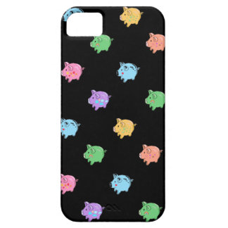 Rainbow Pig Pattern on black iPhone 5 Cover