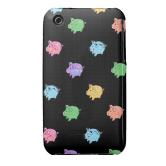 Rainbow Pig Pattern on black Case-Mate iPhone 3 Cases