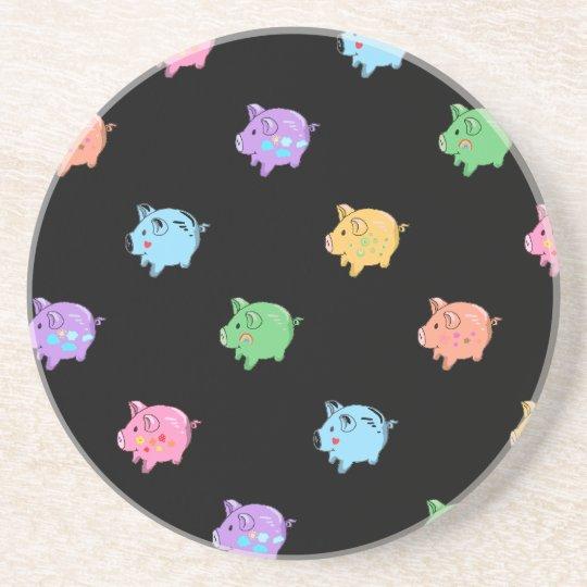 Rainbow Pig Pattern on black Drink Coaster